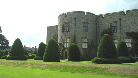 View of topiary in scale with the castle
