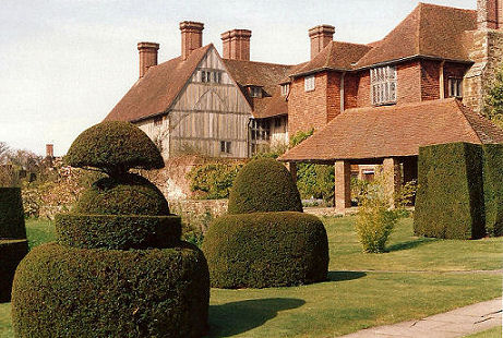The main topiary at the back of Great Dixter house