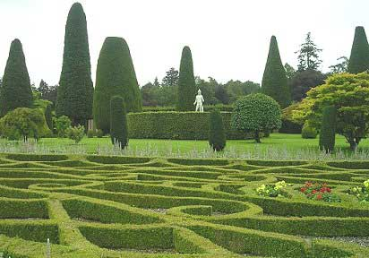 Low parterre looking towards large hedging
