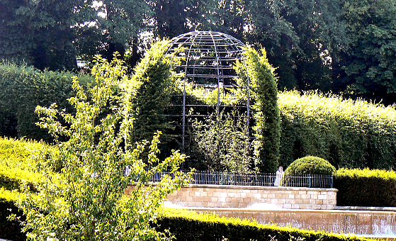 Topiary covered pergola