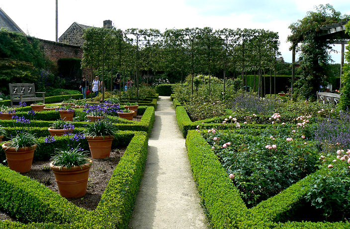 Another view of the formal garden with plants in terracotta pots to give interest and colour