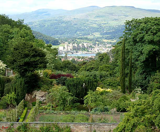 The gardeners have cut the woodland trees so that a vista of Conwy Castle can be seen from the bedrooms