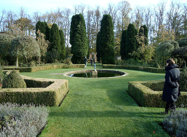 Parterre with Italianate cypresses behind