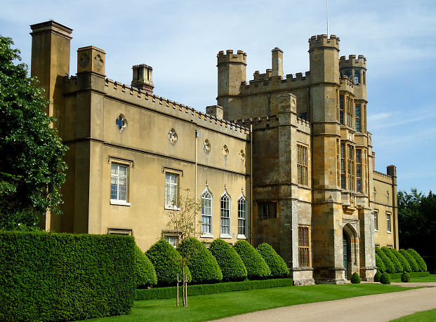 The front entrance to Coughton Court complete with tower