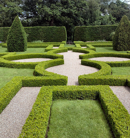 Quatrefoil parterre looking away from the house