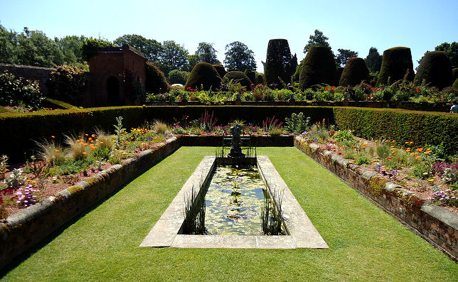 The sunken pond garden near the house