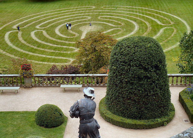 View of grass maze from lower terrace with magnificent yew specimen in the foreground