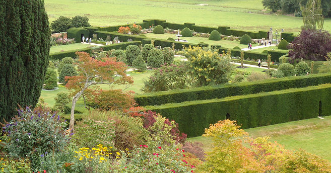 The lower topiary garden is surrounded by high yew hedges and contains several rooms to explore