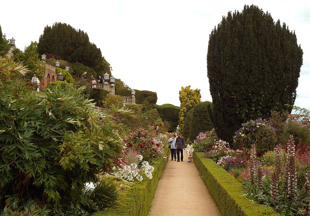 The higher terraces have a wealth of fine planting behind their formal box hedges