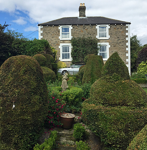 The Topiary garden looking towards Birkheads House