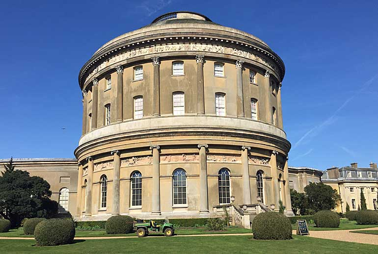 Close up of the Rotunda with gardener's tractor in foreground